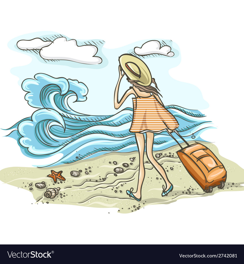 Woman with suitcase on the beach vector | Price: 1 Credit (USD $1)