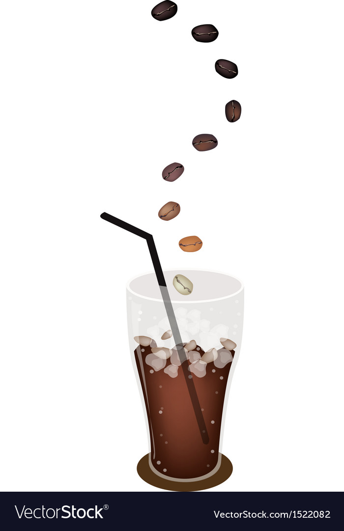 A delicious iced coffee with roasted beans vector | Price: 1 Credit (USD $1)