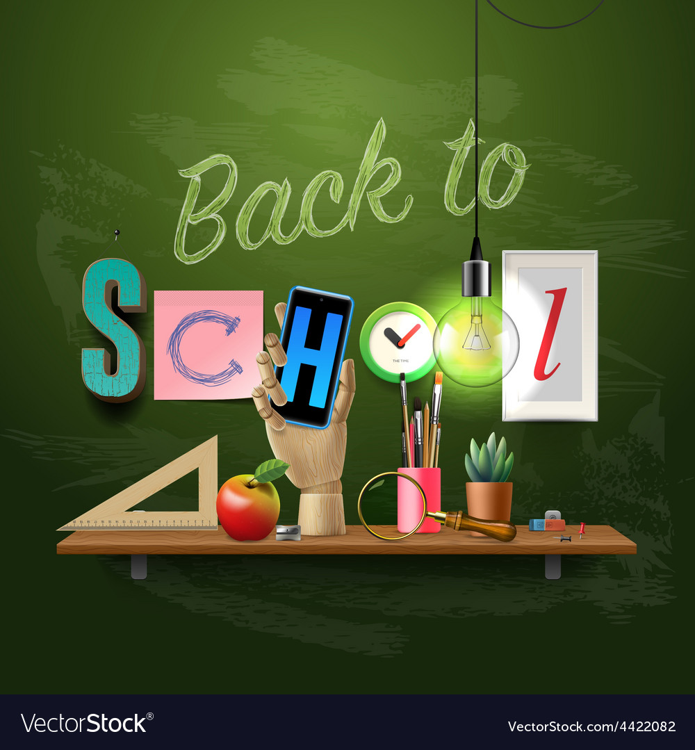 Back to school template with schools workspace vector | Price: 3 Credit (USD $3)