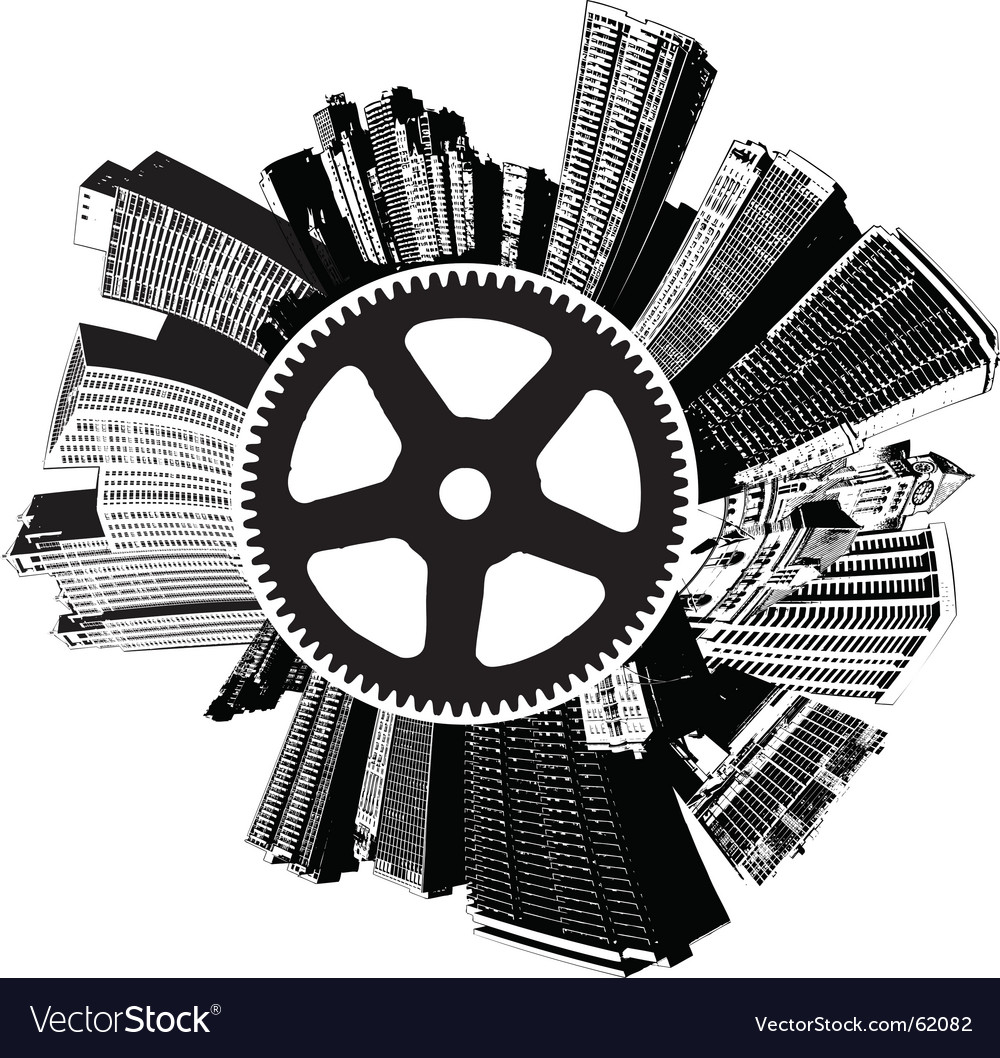 City buildings gear vector | Price: 1 Credit (USD $1)