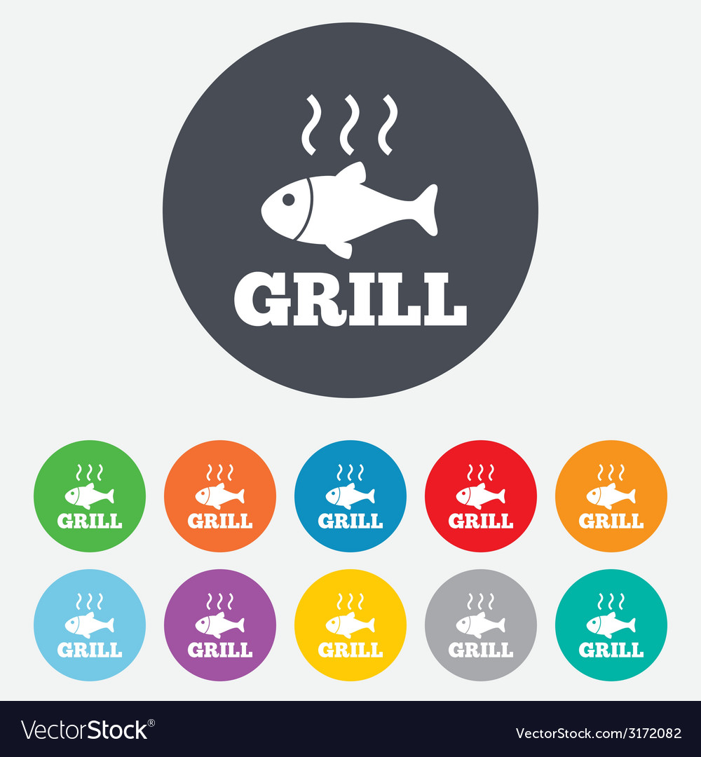 Fish grill hot icon cook or fry fish symbol vector   Price: 1 Credit (USD $1)