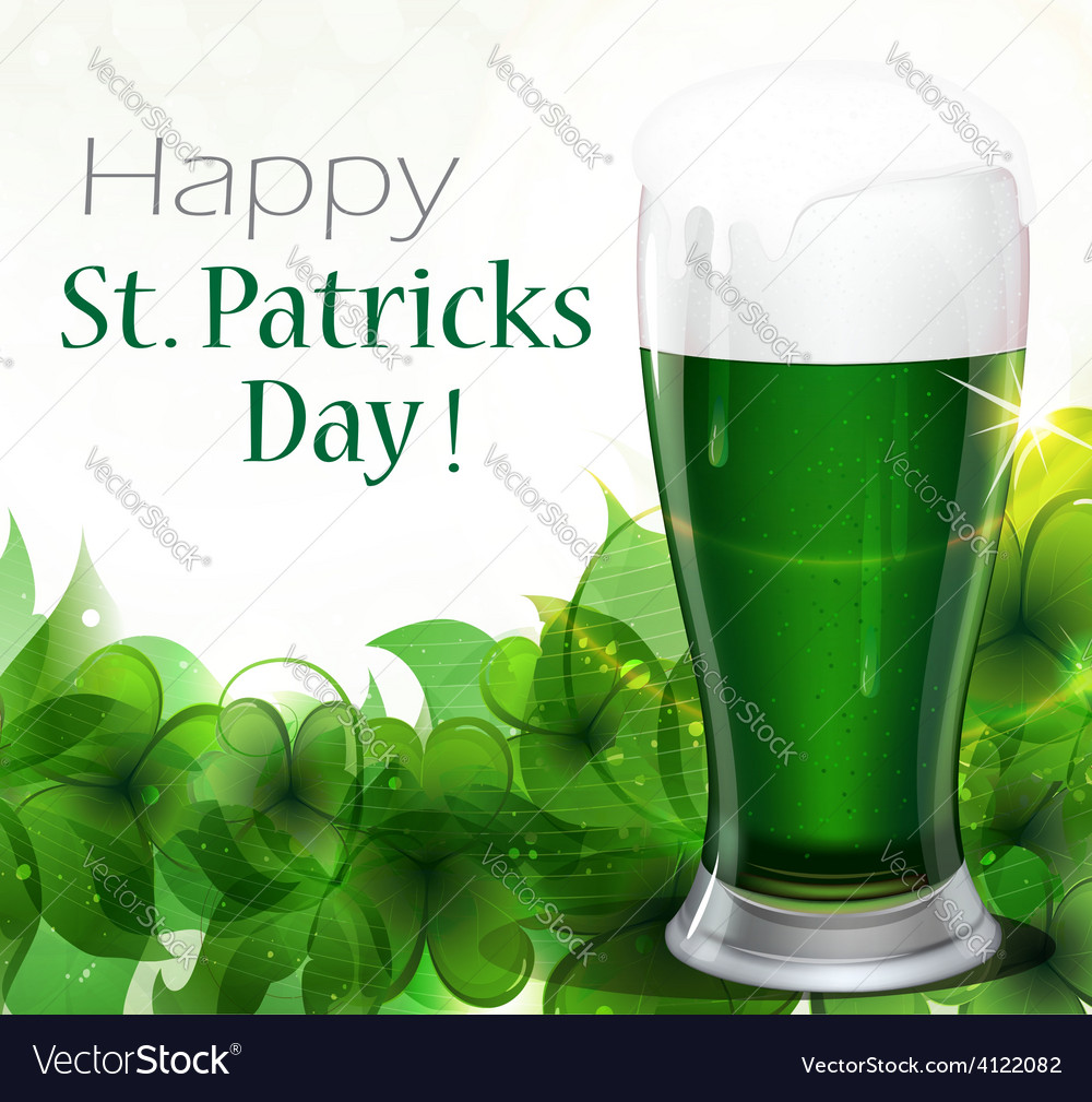 Green beer with clover vector | Price: 3 Credit (USD $3)