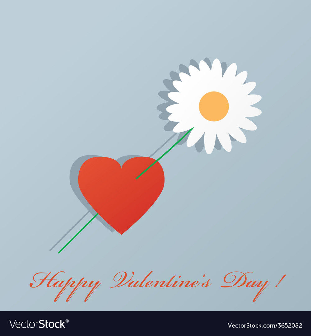 Heart and flower by st valentines day vector | Price: 1 Credit (USD $1)