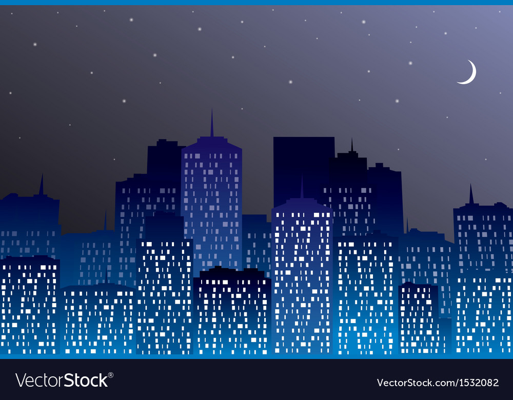 Night city silhouette vector | Price: 1 Credit (USD $1)