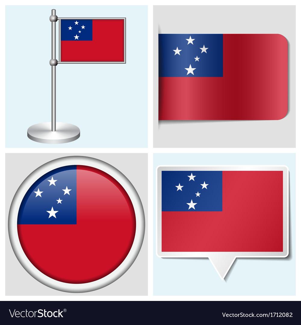 Samoa flag - sticker button label flagstaff vector | Price: 1 Credit (USD $1)