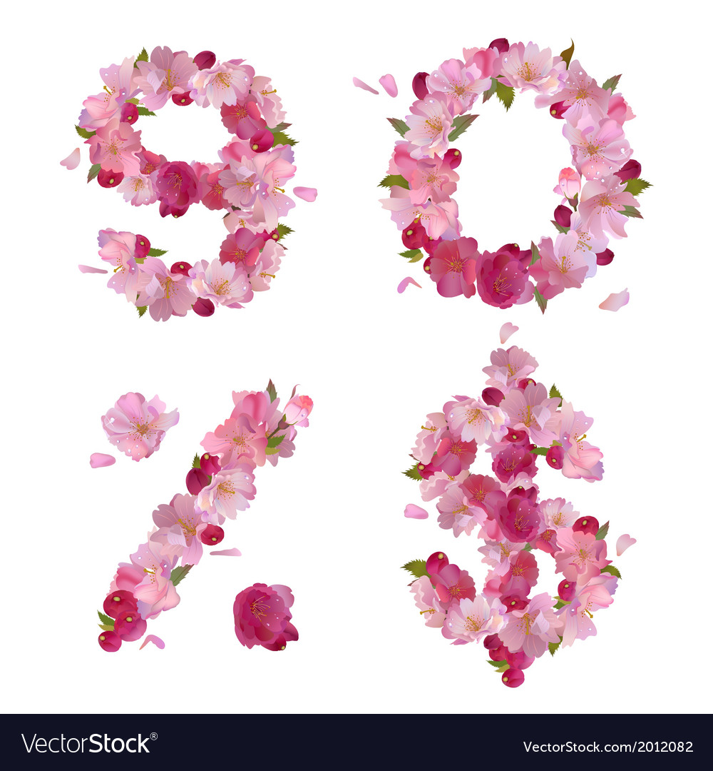 Spring font from cherry flowers figures and signs vector | Price: 1 Credit (USD $1)
