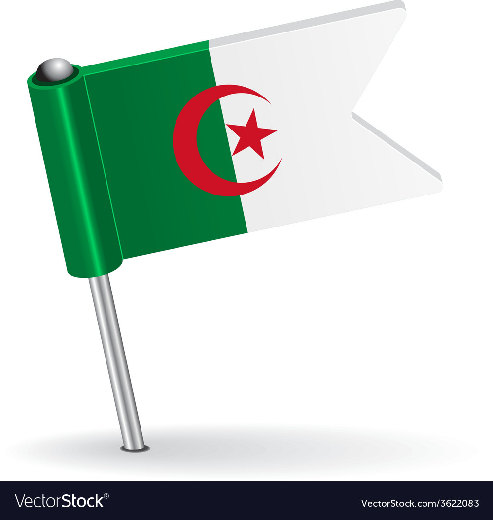 Algerian pin icon flag vector | Price: 1 Credit (USD $1)