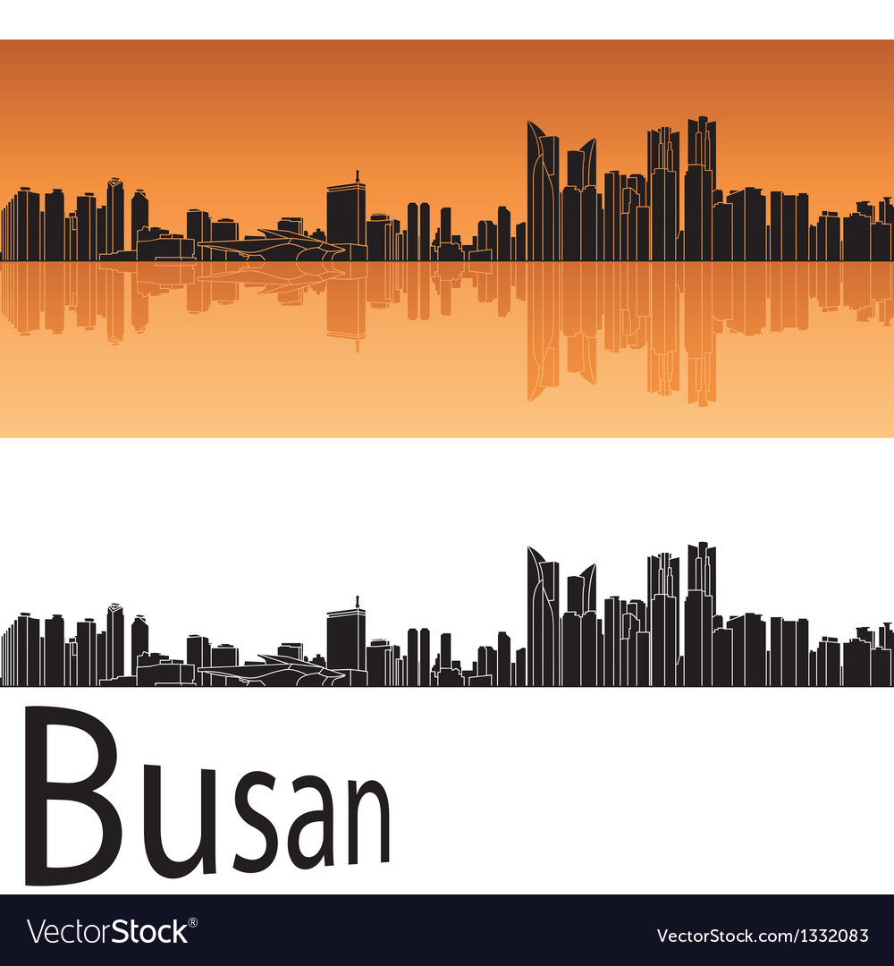 Busan skyline in orange background vector | Price: 1 Credit (USD $1)