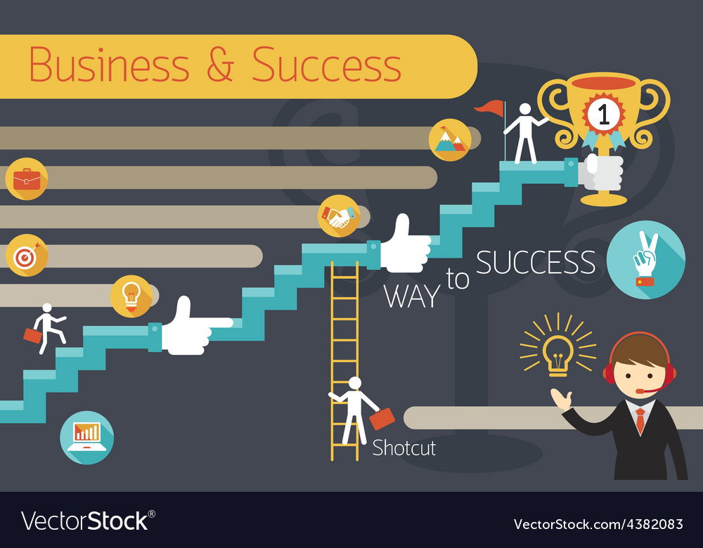 Business concept stairway to success infographic vector | Price: 1 Credit (USD $1)