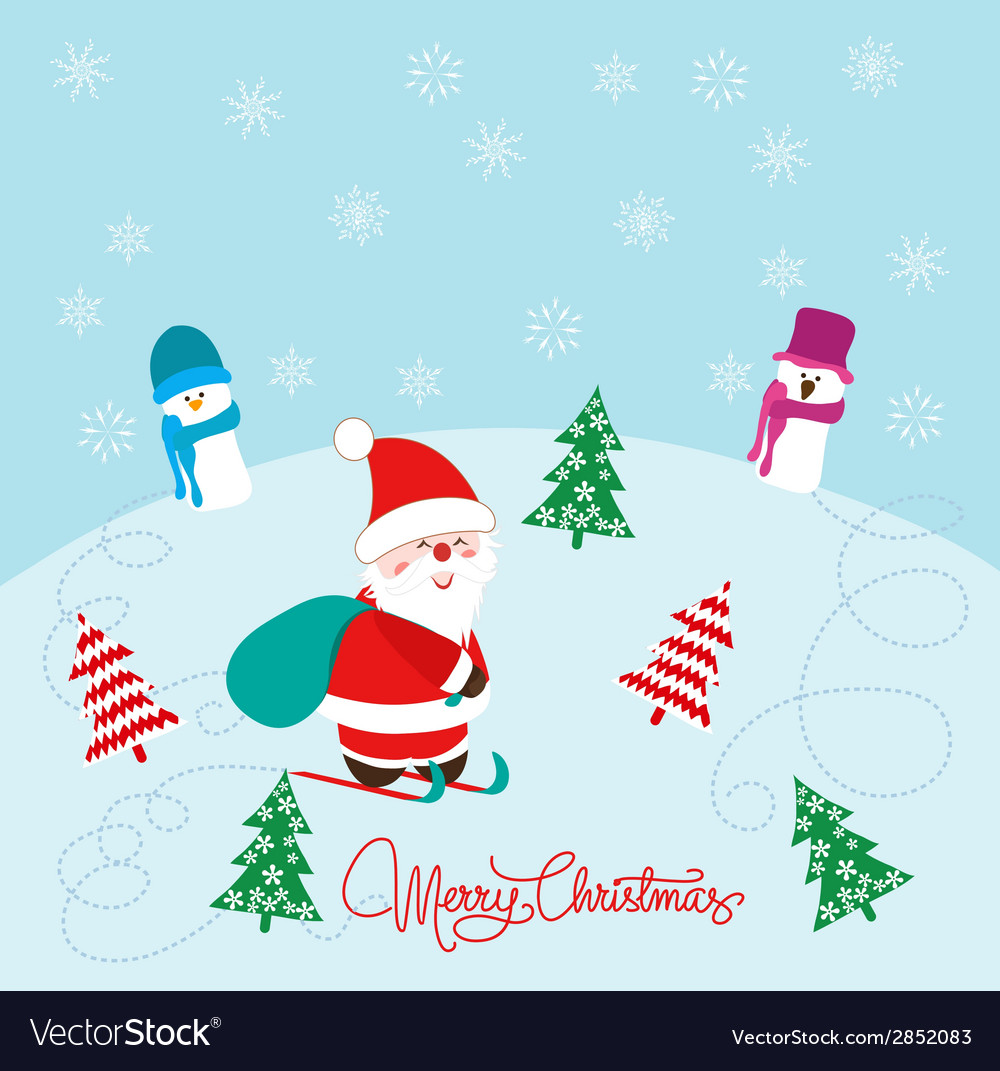 Christmas card with santa claus snowman and vector | Price: 1 Credit (USD $1)