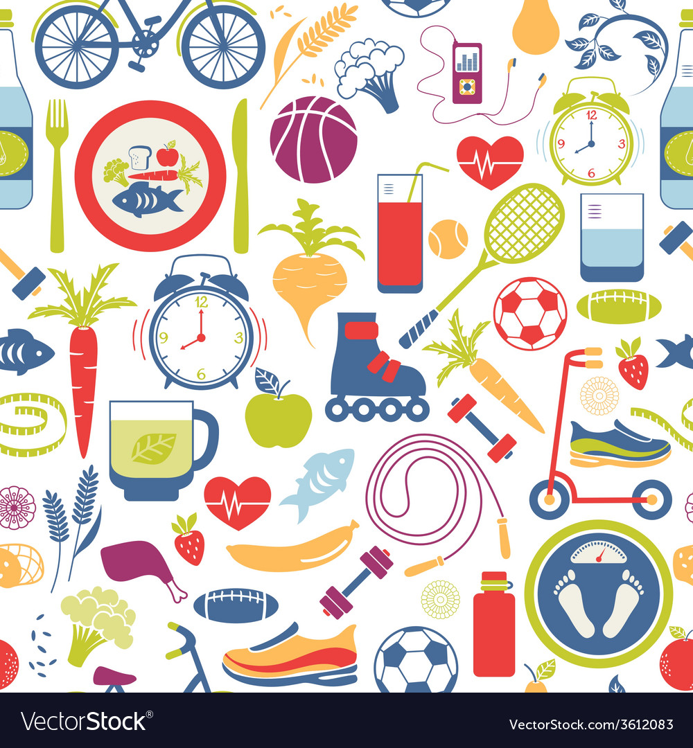 Colorful healthy lifestyle themed graphics vector | Price: 1 Credit (USD $1)