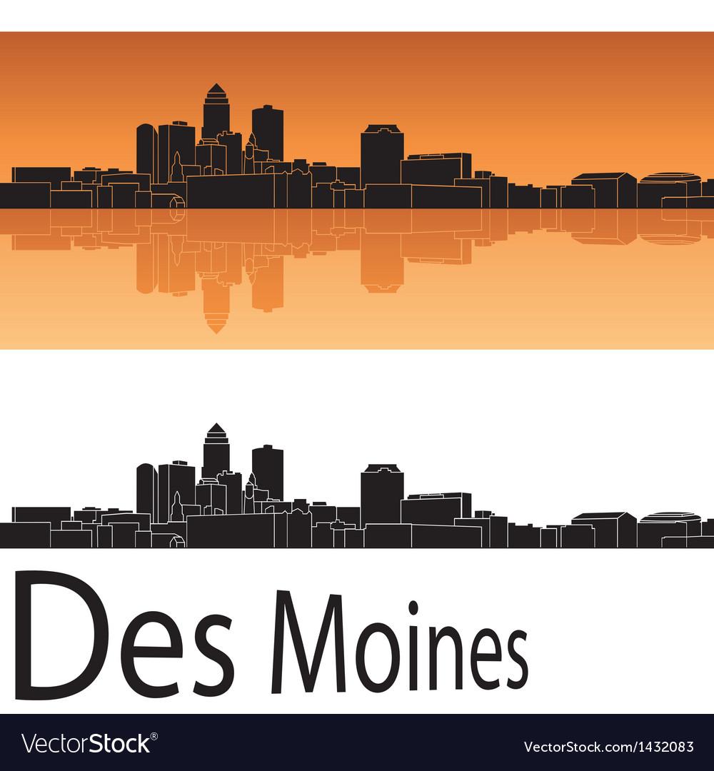 Des moines skyline in orange background vector | Price: 1 Credit (USD $1)