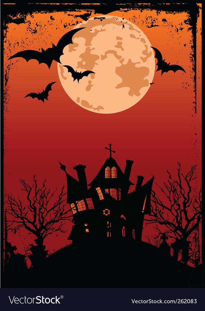 Halloween background with haunted house vector | Price: 1 Credit (USD $1)