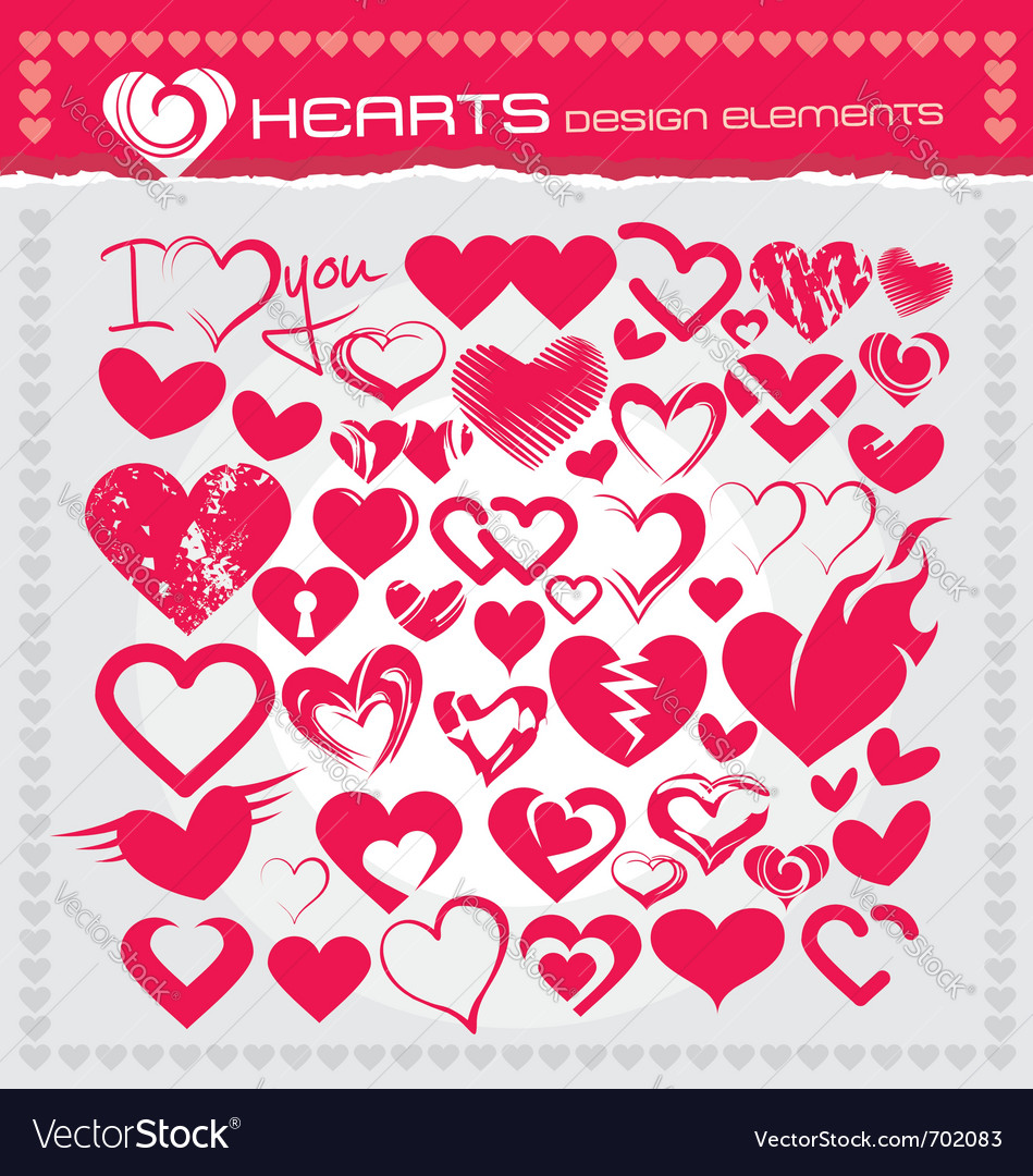 Heart design elements vector | Price: 1 Credit (USD $1)