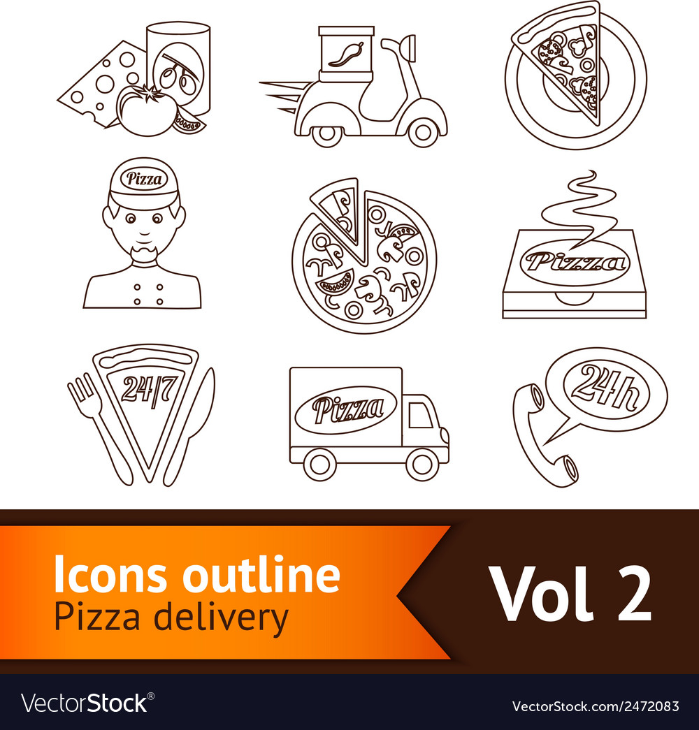 Pizza icons set outline vector | Price: 1 Credit (USD $1)