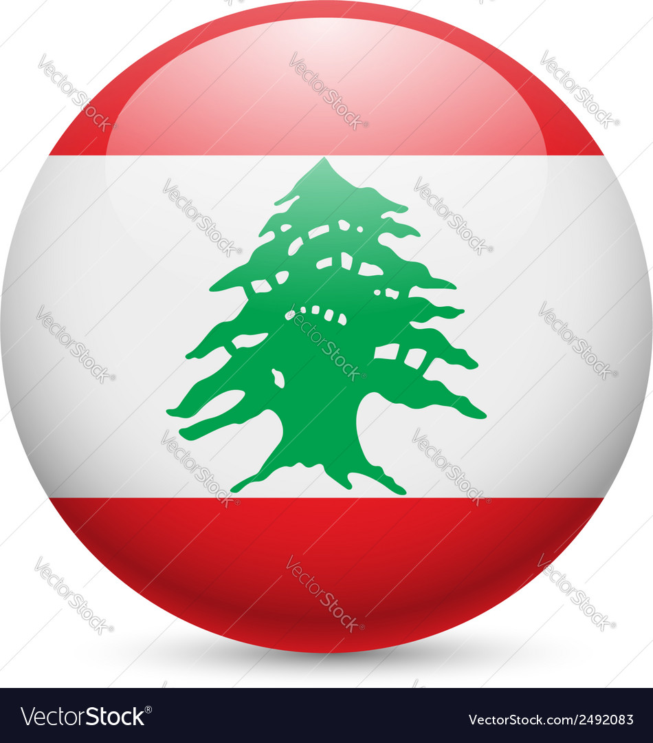 Round glossy icon of lebanon vector | Price: 1 Credit (USD $1)