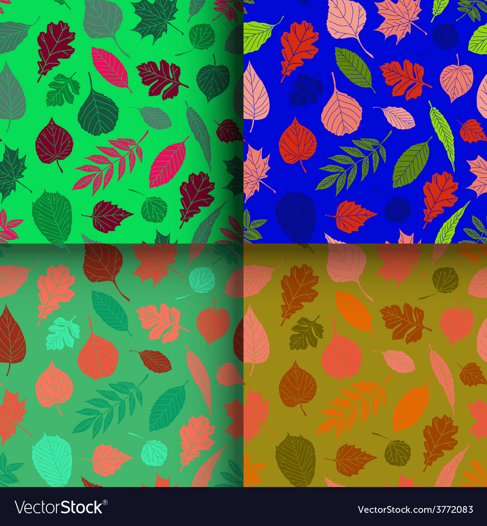 Set of seamless patterns with leaves vector | Price: 1 Credit (USD $1)