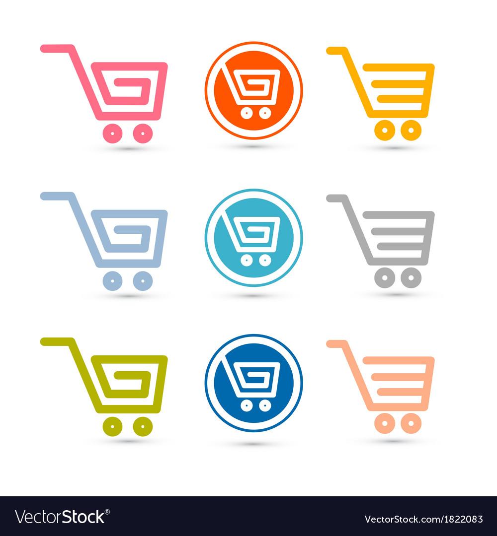 Shopping cart basket web symbols icons set vector | Price: 1 Credit (USD $1)