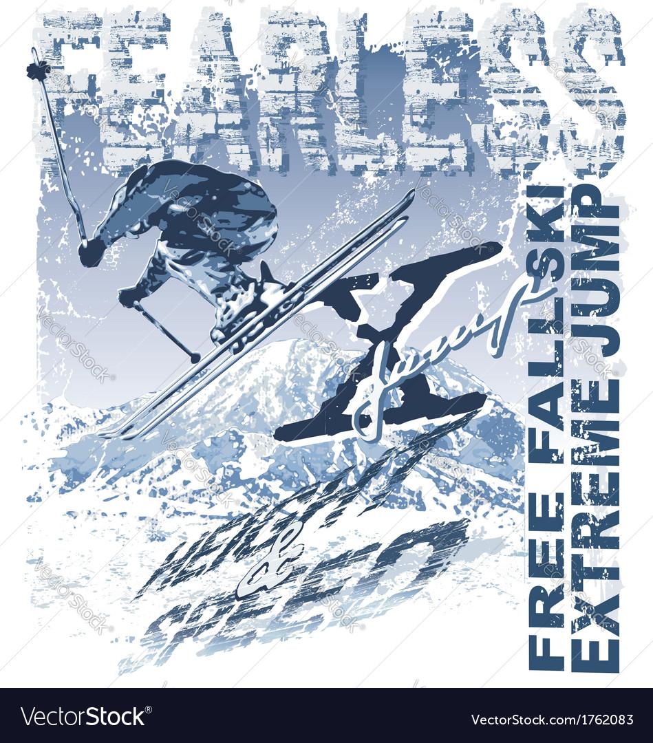 Ski free fall vector | Price: 3 Credit (USD $3)