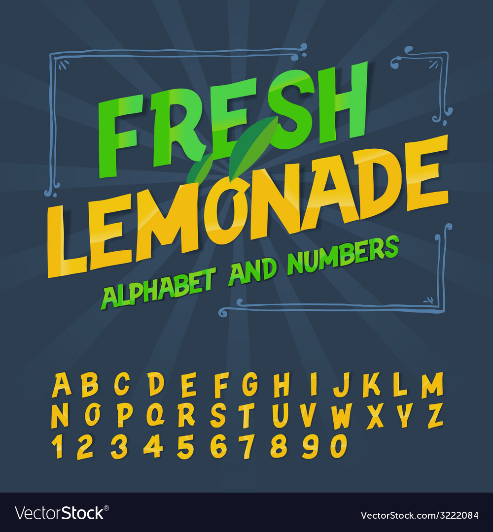 Alphabet and numbers - fresh lemonade vector | Price: 1 Credit (USD $1)