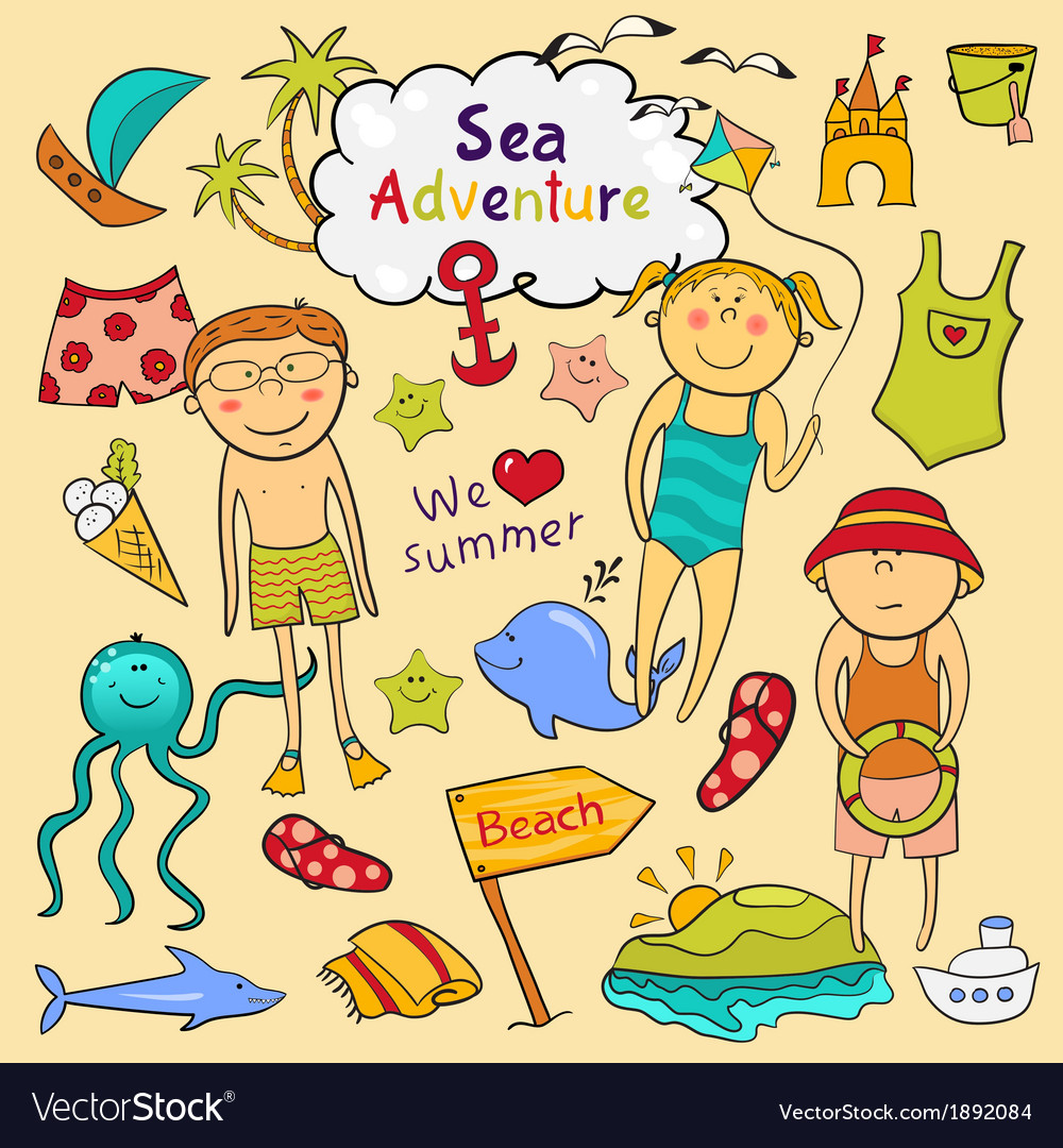 Beach set in doodle style vector | Price: 1 Credit (USD $1)