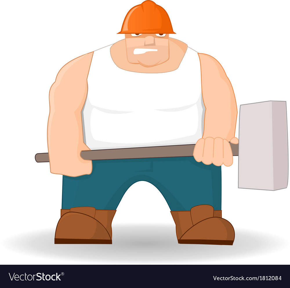 Big workman with hammer vector | Price: 1 Credit (USD $1)