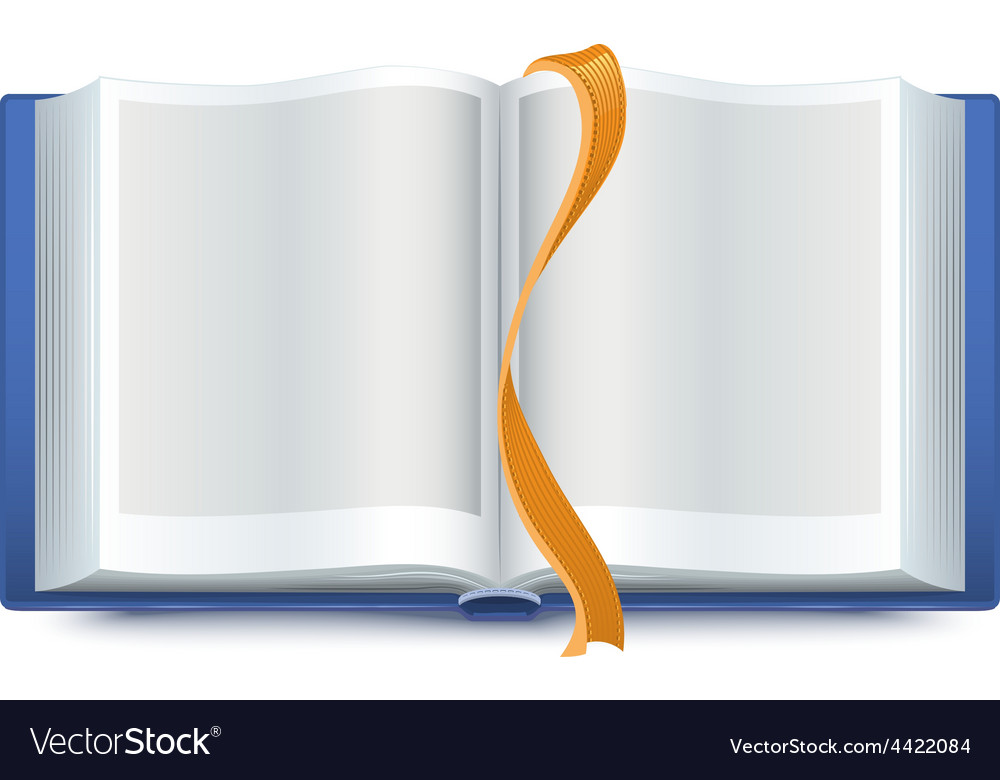 Blue open book with a bookmark vector | Price: 1 Credit (USD $1)