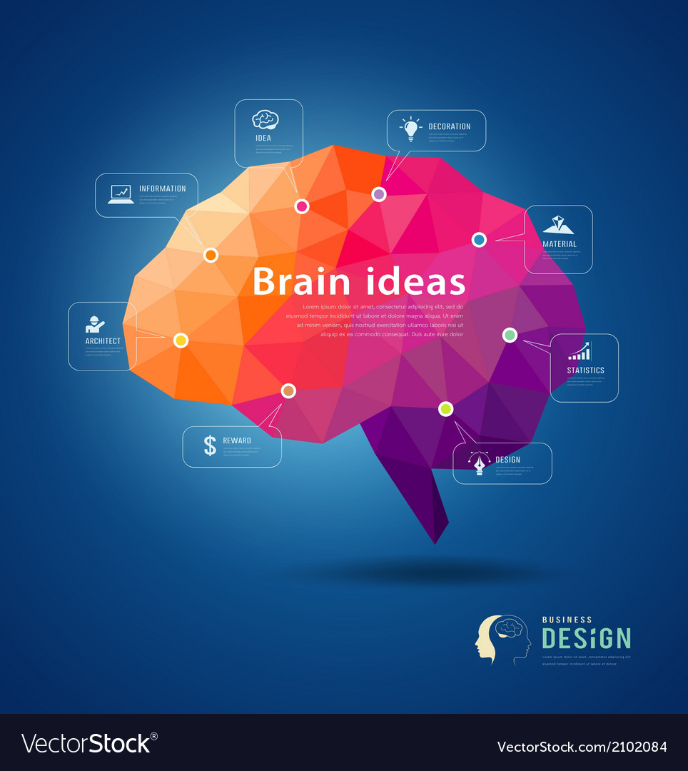 Brain idea geometric info graphics design vector | Price: 1 Credit (USD $1)