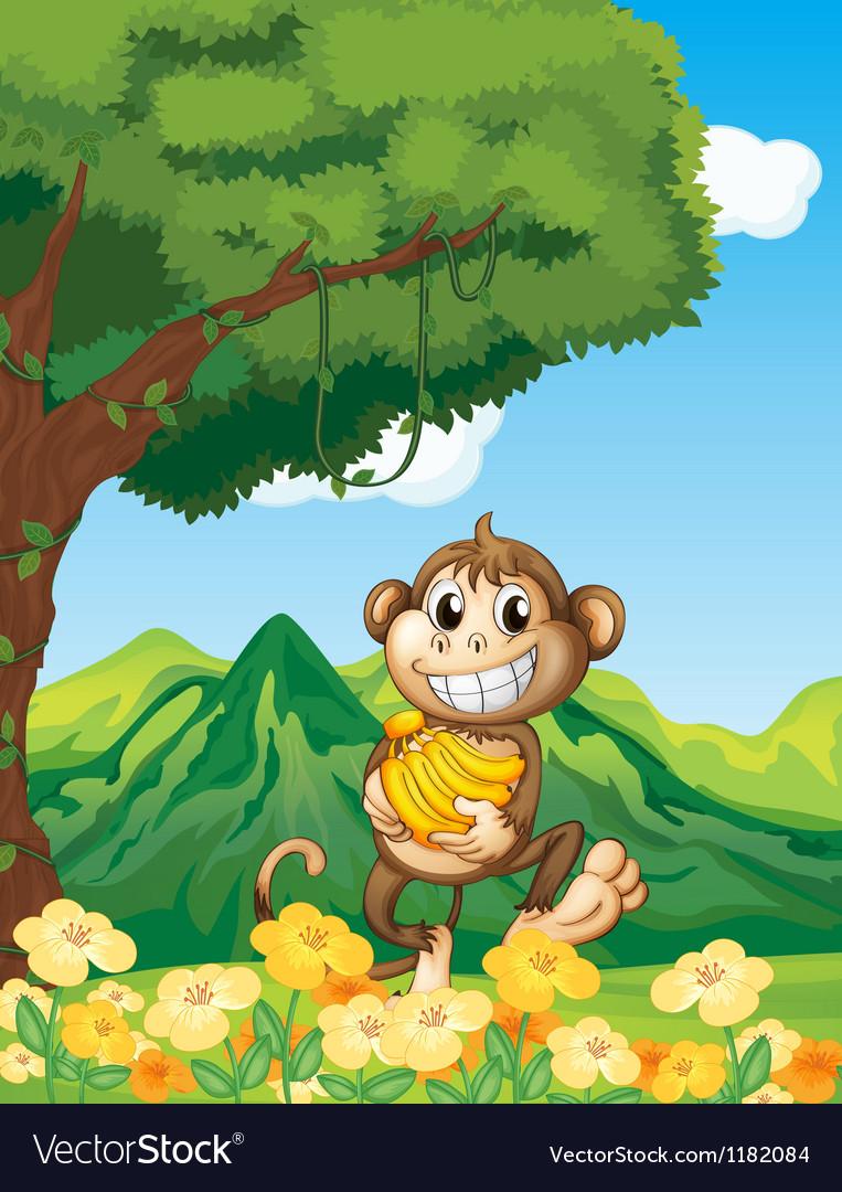 Cartoon monkey banana vector | Price: 1 Credit (USD $1)