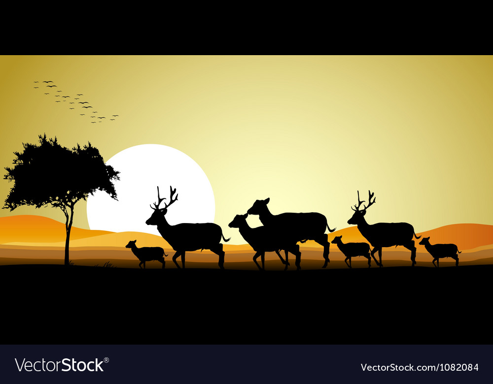 Deer family silhouette vector | Price: 1 Credit (USD $1)