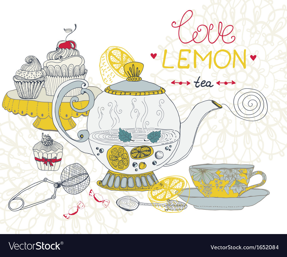 Love lemon tea card vector | Price: 1 Credit (USD $1)