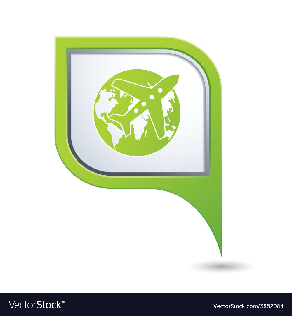 Plane and globe green pointer vector | Price: 1 Credit (USD $1)