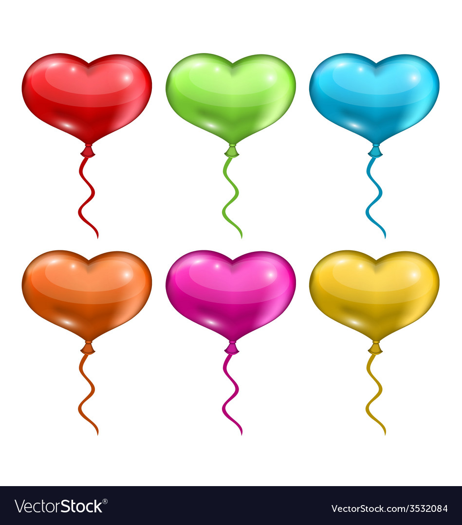 Set colorful balloons in the shape of hearts vector | Price: 1 Credit (USD $1)
