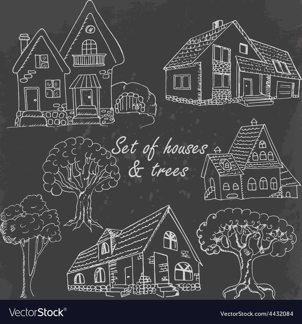 Set of houses and trees on black vector | Price: 1 Credit (USD $1)
