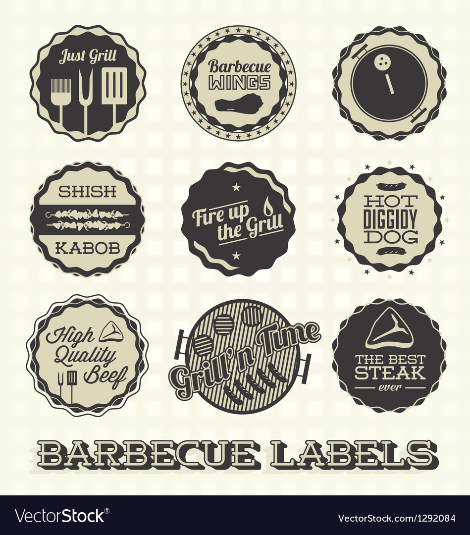 Vintage bbq labels and icons vector | Price: 1 Credit (USD $1)