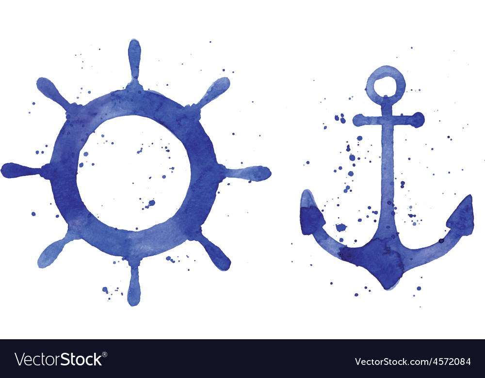 Watercolor of an anchor and a steering wheel vector | Price: 1 Credit (USD $1)