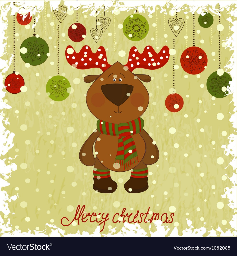 Christmas deer whith freezing pattern vector | Price: 1 Credit (USD $1)