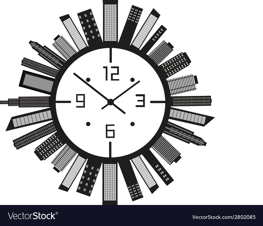 Clock with buildings vector | Price: 1 Credit (USD $1)