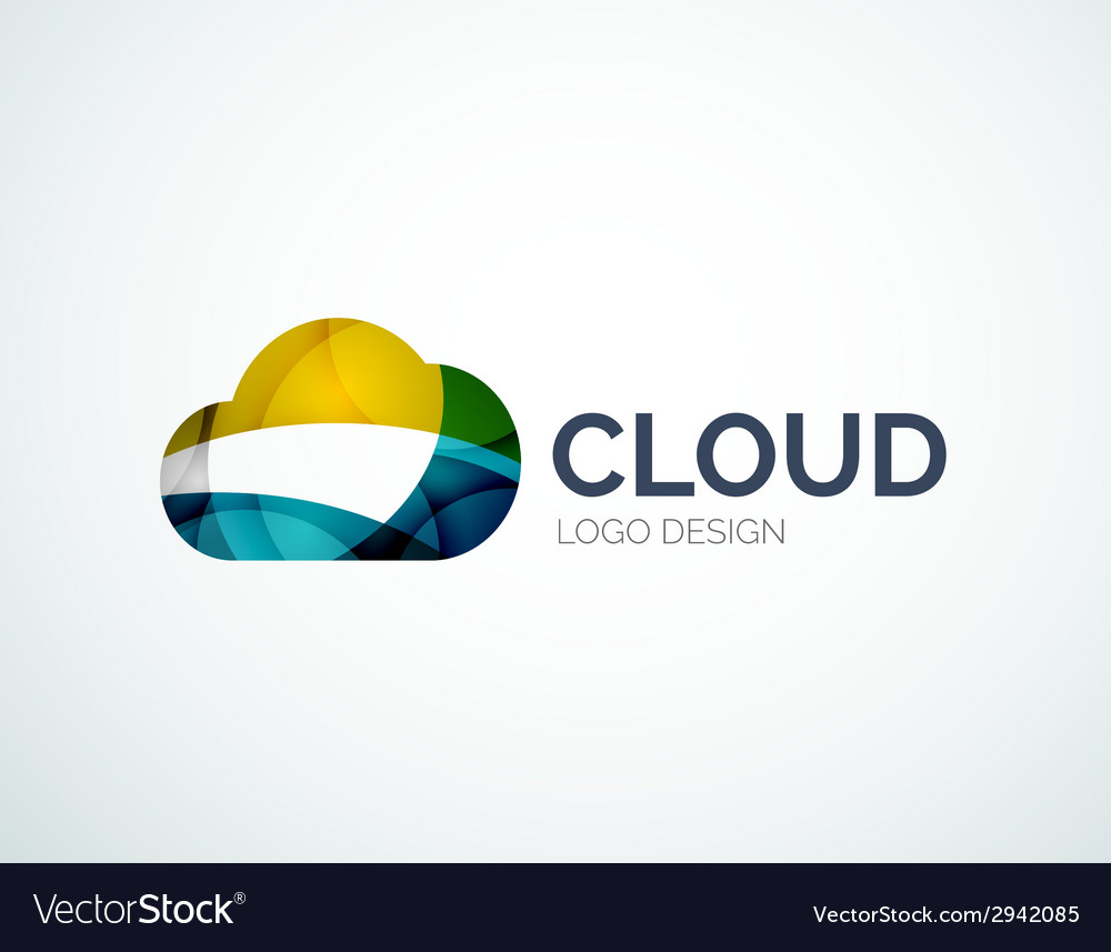 Cloud storage logotype set flat design vector | Price: 1 Credit (USD $1)