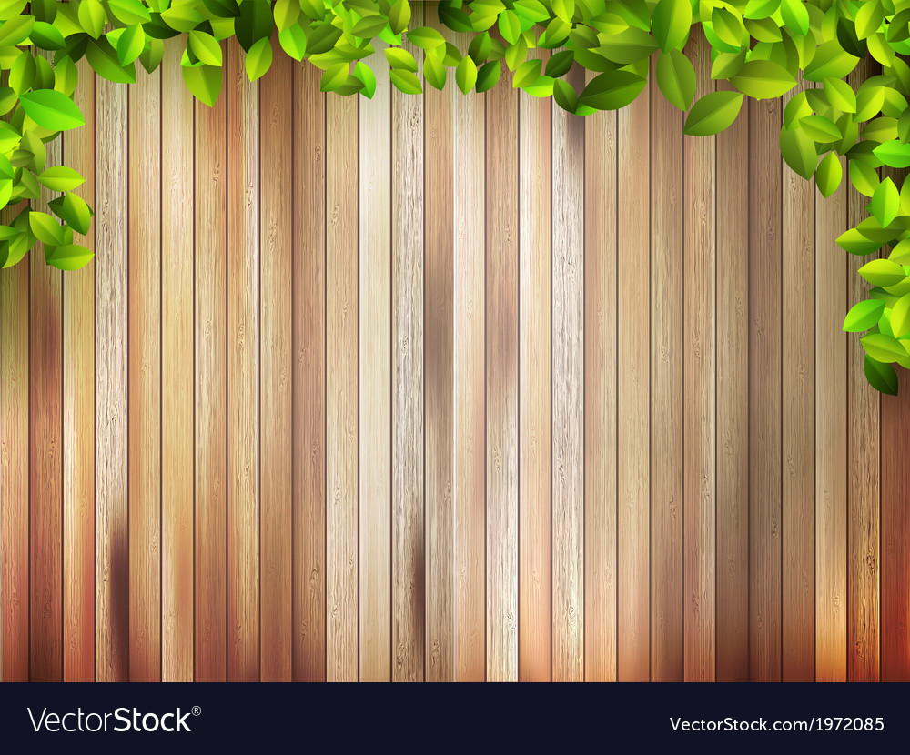 Grunge wood texture with leaves  eps10 vector | Price: 1 Credit (USD $1)