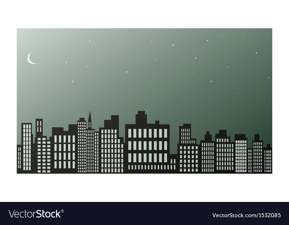 Night city black and white vector | Price: 1 Credit (USD $1)