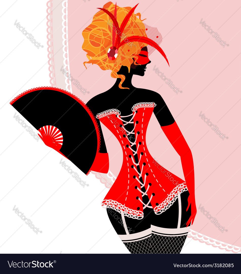 Red lady in corset with fan vector   Price: 1 Credit (USD $1)