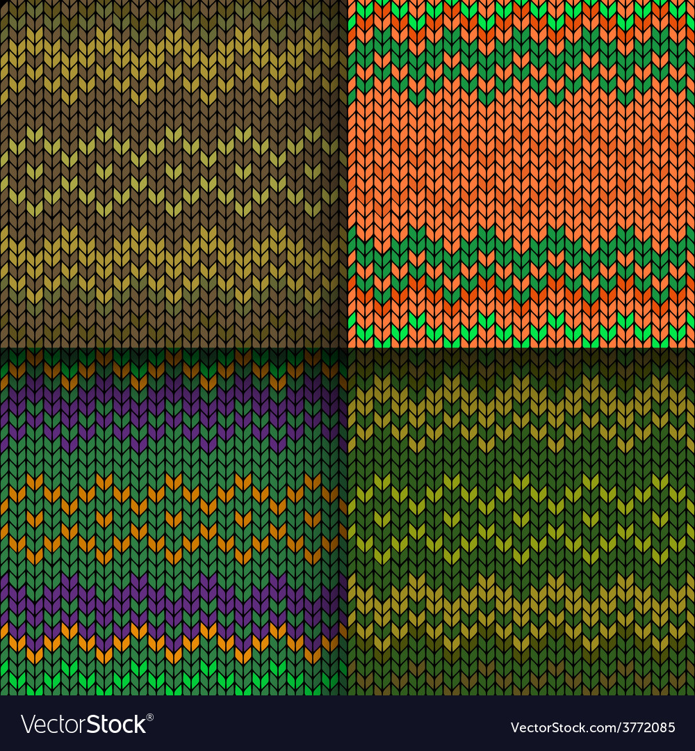 Set of seamless knitted patterns vector | Price: 1 Credit (USD $1)