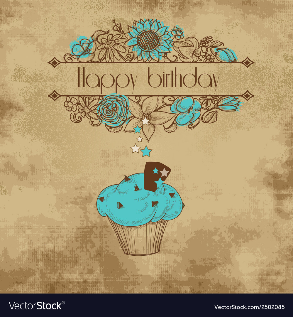 Vintage birthday party card old paper background vector | Price: 1 Credit (USD $1)