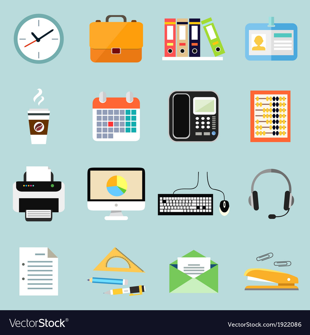 Business office stationery icons set vector | Price: 1 Credit (USD $1)
