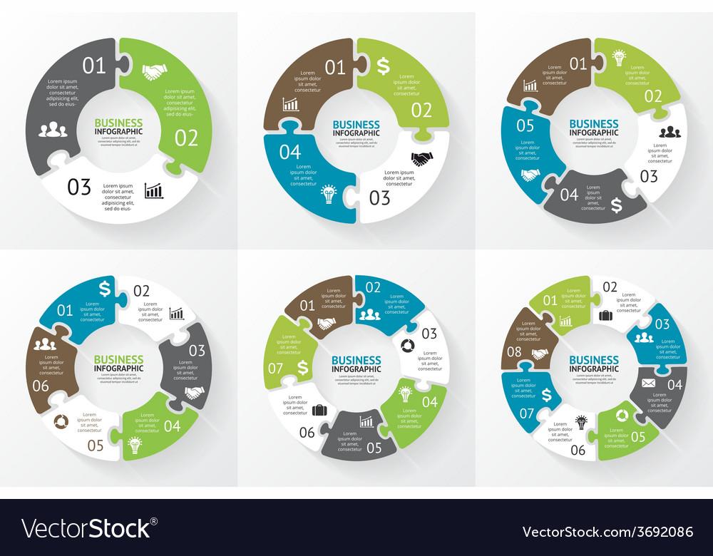 Circle puzzle infographic diagram presentation vector