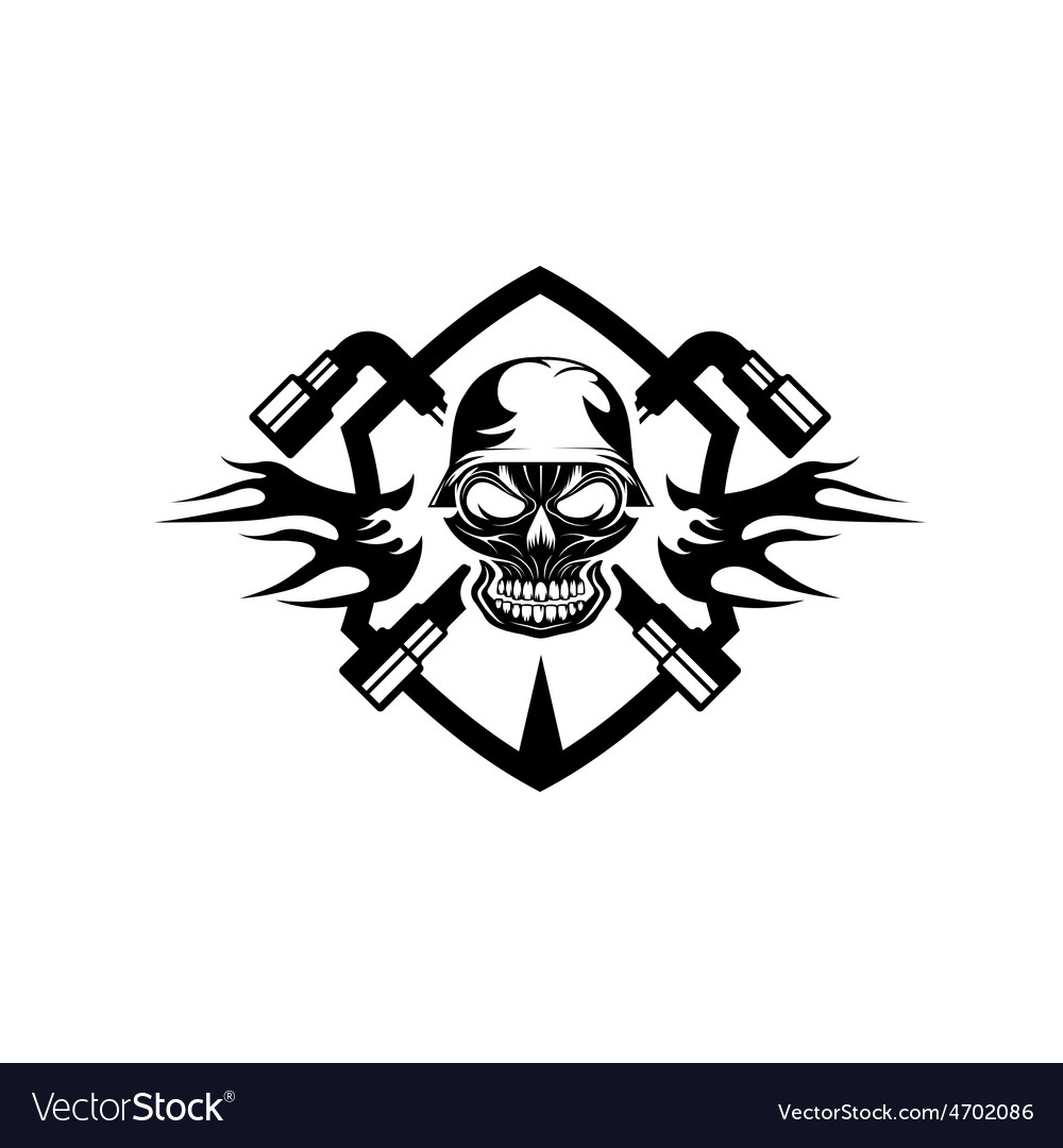Crest with skull in helmet and spanners vector   Price: 1 Credit (USD $1)
