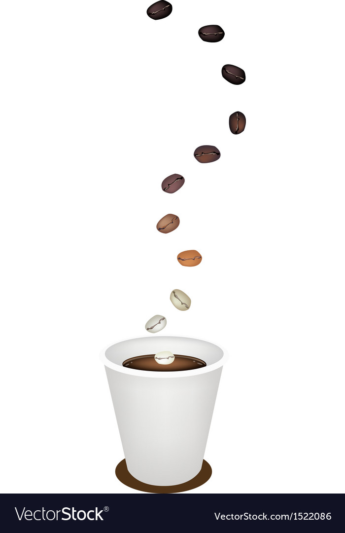 Delicious disposable coffee cup with roasted beans vector | Price: 1 Credit (USD $1)