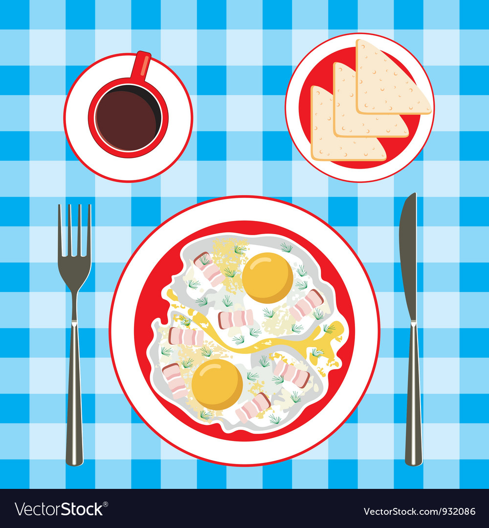 Fried eggs in a plate coffee and bread vector | Price: 1 Credit (USD $1)