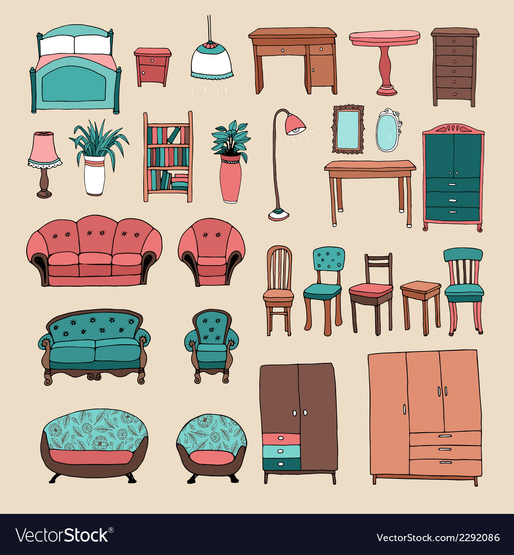 Furniture and home accessories icons set vector | Price: 1 Credit (USD $1)